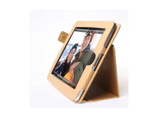 Apple iPad 1 Magnetic Gold Leather Case Cover W/Stand