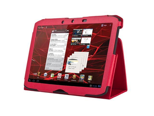 Red Folio PU Leather Cover Case Stand For Motorola Droid Xyboard 10.1