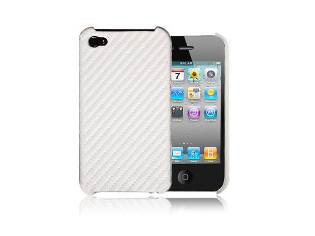White Carbon Fiber Style Hard Case Cover For Apple iPhone 4 4G