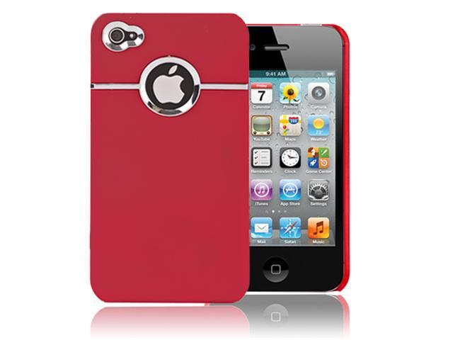 Red w/Chrome Hole Rear Rubber Coated Hard Case Cover For Apple iPhone 4 4S 4GS