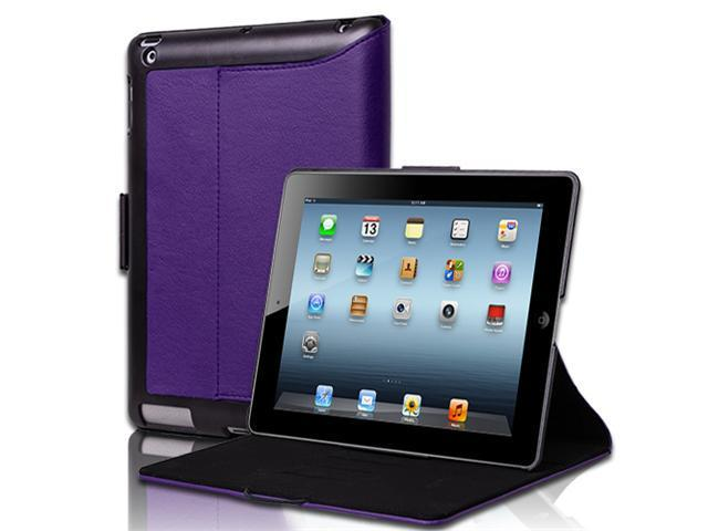 Purple Slim Fit Folio PU Leather Case Cover With Stand For The new iPad 3 iPad 2