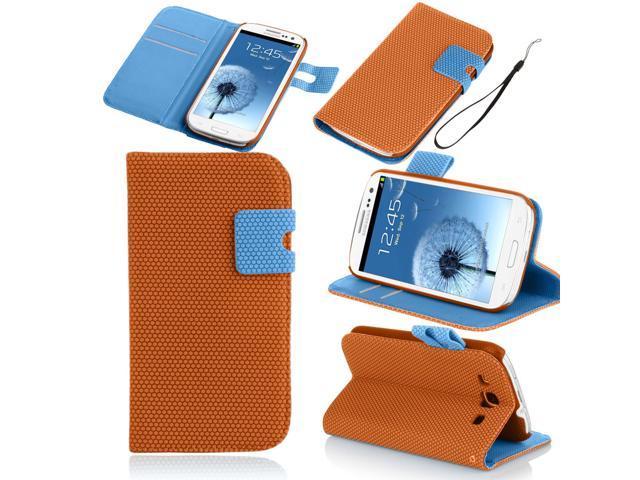 Basketball Veins Hexagon Wallet Leather Case For Samsung Galaxy S3 I9300 Orange