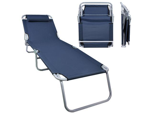 Patio Lounge Chair Dark Blue Portable Folding Chaise Bed for Outdoor Indoor
