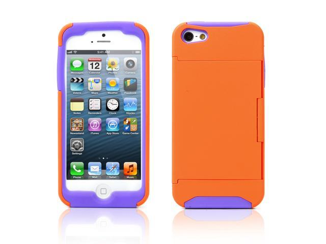 Credit Card Hard Shell Stand Combo Case Cover For Apple iPhone 5s 5 5G Orange