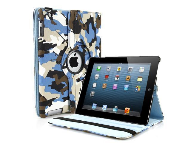 Apple iPad 2/3/4 Case - 360 Degree Rotating Stand Smart Cover PU Leather Case For iPad 4,iPad 3 & iPad 2 with Built-in Magnet for Sleep & Wake feature & Stylus Holder Camouflage Blue and White