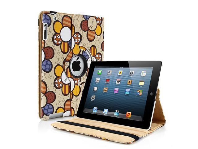 Apple iPad Mini Case - 360 Degree Rotating Stand Smart Cover PU Leather Case For iPad Mini 1st Gen with Built-in Magnet for Sleep & Wake feature & Stylus Holder Sun Flower Pattern Khaki