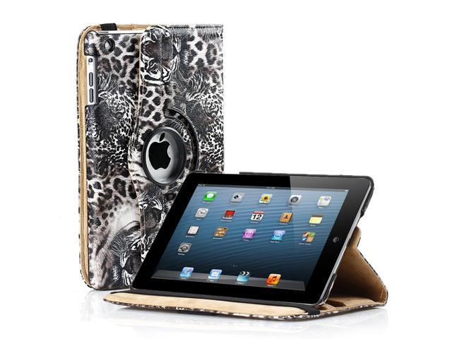 Apple iPad Mini Case - 360 Degree Rotating Stand Smart Cover PU Leather Case For iPad Mini 1st Gen with Built-in Magnet for Sleep & Wake feature & Stylus Holder Tiger Brown