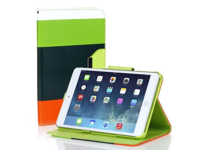 Apple iPad Mini Case - Portable PU Leather Colorful Wallet Case Cover Stand For iPad Mini 1st Gen with Credit Card Slots and Wrist Strap and Automatic Sleep & Wake Function Green/Dark Green/Orange