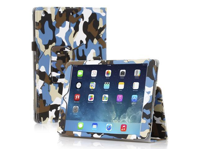 Apple iPad Air Case - Slim Fit Leather Folio Smart Cover Stand For iPad Air 2 / iPad Air with Automatic Sleep & Wake Feature and Stylus Holder Camouflage Blue