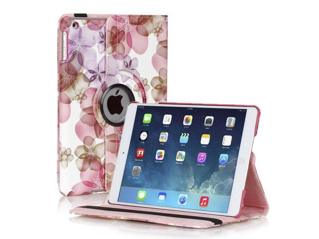 Apple iPad Mini Case - 360 Degree Rotating Stand Smart Cover PU Leather Case For iPad mini 3 / iPad mini 2 with Built-in Magnet for Sleep & Wake feature & Stylus Holder Floral Pink