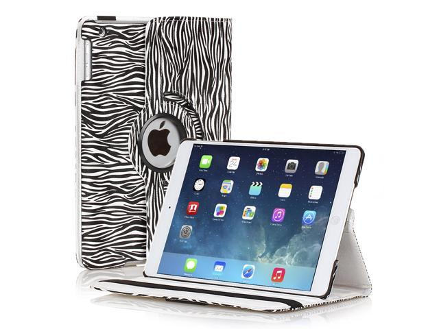 Apple iPad Mini Case - 360 Degree Rotating Stand Smart Cover PU Leather Case For iPad mini 3 / iPad mini 2 with Built-in Magnet for Sleep & Wake feature & Stylus Holder Zebra Black & White