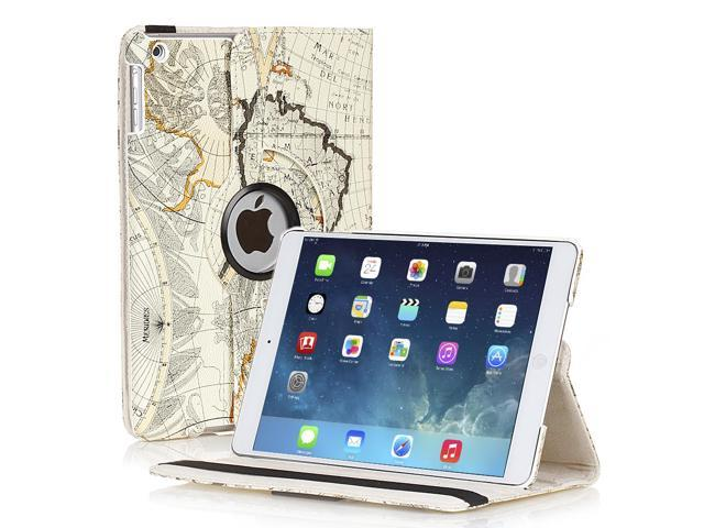 Apple iPad Mini Case - 360 Degree Rotating Stand Smart Cover PU Leather Case For iPad mini 3 / iPad mini 2 with Built-in Magnet for Sleep & Wake feature & Stylus Holder World Navy Map Beige Ivory