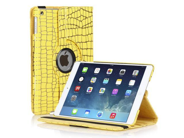 Apple iPad Mini Case - 360 Degree Rotating Stand Smart Cover PU Leather Case For iPad mini 3 / iPad mini 2 with Built-in Magnet for Sleep & Wake feature & Stylus Holder Gold Stripe Yellow