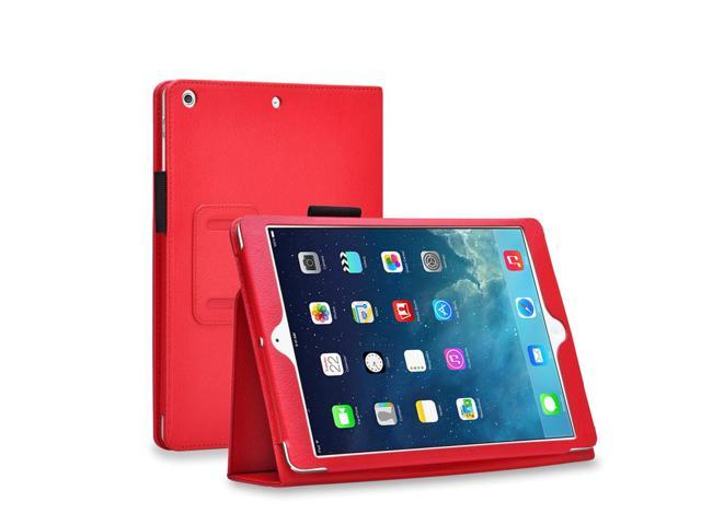 Apple iPad Mini Case - Slim Fit Leather Folio Smart Cover Stand For iPad Mini 3 / iPad Mini 2 with Automatic Sleep & Wake Feature and Stylus Holder - Red