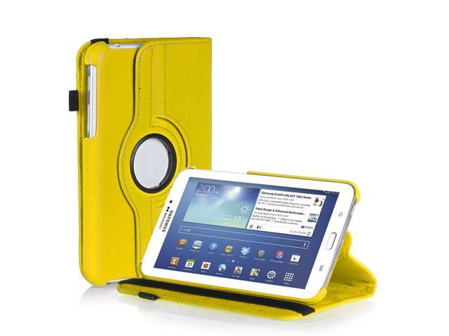 Galaxy Tab 3 7.0 Case - Slim Fit PU Leather Folio Case Smart Cover Stand For Samsung Galaxy Tab 3 7.0 P3200 P3210 with Auto Sleep & Wake and Hand Strap and ID/Credit Card and SD Card Slots Yellow