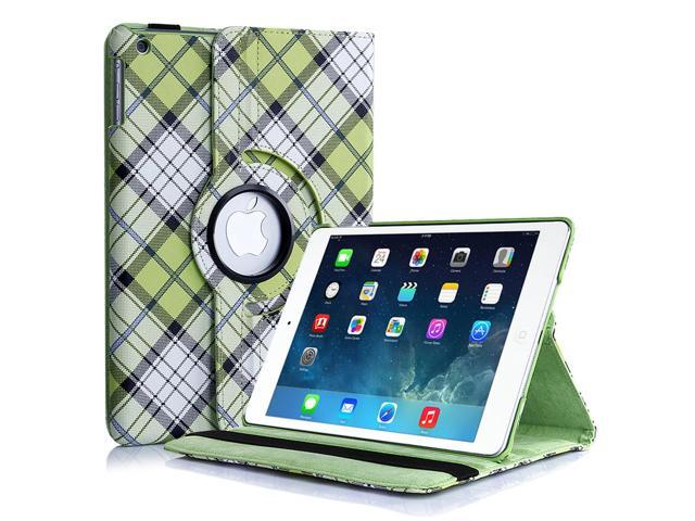 Apple iPad 4/3/2 Case - 360 Degree Rotating Stand Folio PU Leather Smart Case Cover with Automatic Wake & Sleep Feature and Stylus Holder For iPad 4th Gen , the New iPad 3 & iPad 2 Plaid Pattern Green