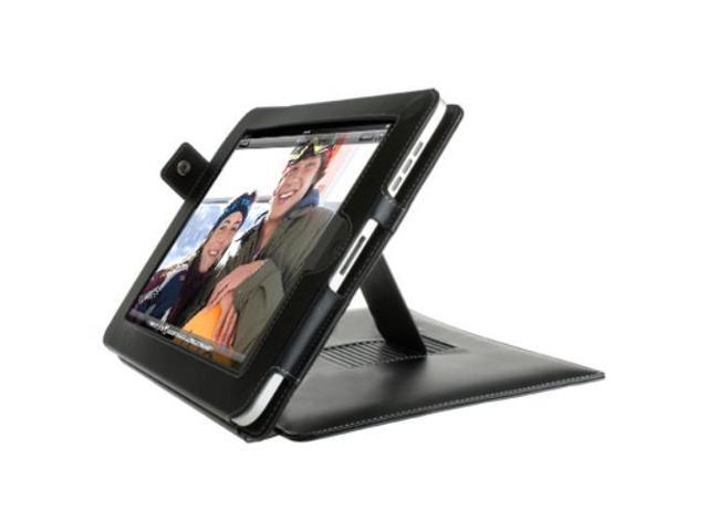 iPad 1 Case - Slim Fit PU Leather Folio Case Cover Stand - with SD Card & Credit Card Holder & Kick Stand For Apple iPad ...