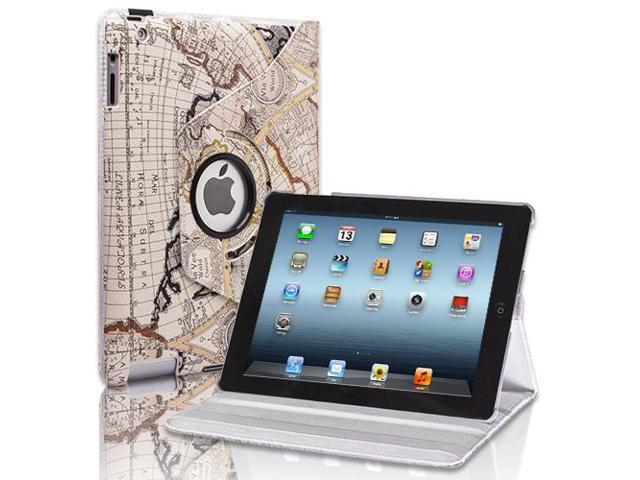 Apple iPad 2/3/4 Case - 360 Degree Rotating Stand Smart Cover PU Leather Case For iPad 4,iPad 3 & iPad 2 with Built-in Magnet for Sleep & Wake feature & Stylus Holder Map Design Beige