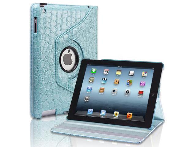 Apple iPad 4/3/2 Case - 360 Degree Rotating Stand Folio PU Leather Smart Case Cover with Automatic Wake & Sleep Feature and Stylus Holder For iPad 4th Gen , iPad 3 & iPad 2 Crocodile Pattern Blue