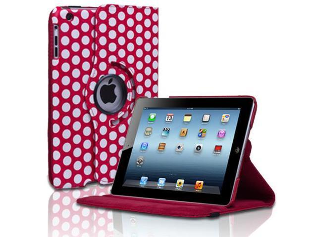Apple iPad Mini Case - 360 Degree Rotating Stand Smart Cover PU Leather Case For iPad Mini 1st Gen with Built-in Magnet for Sleep & Wake feature & Stylus Holder Polka Dot Red