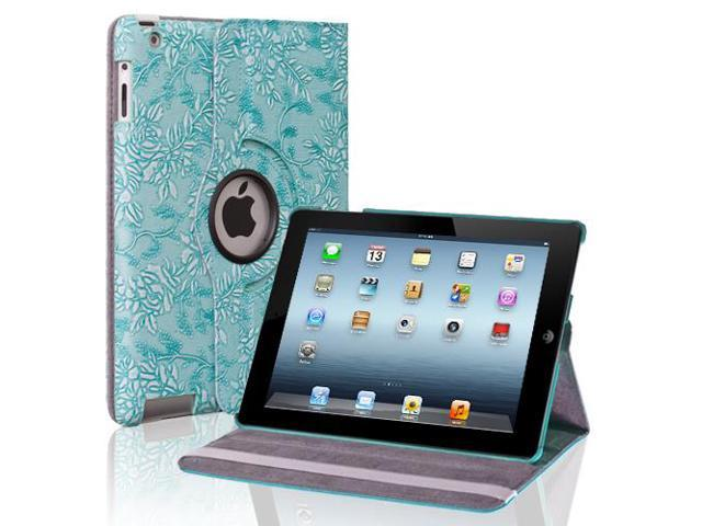 Apple iPad 4/3/2 Case - 360 Degree Rotating Stand Folio PU Leather Smart Case Cover with Automatic Wake & Sleep Feature and Stylus Holder For iPad 4th Gen ,iPad 3 & iPad 2 Grape Pattern Blue