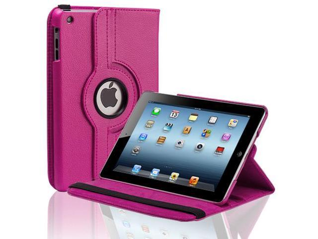 Apple iPad Mini Case - 360 Degree Rotating Stand Smart Cover PU Leather Case For iPad Mini 1st Gen with Built-in Magnet for Sleep & Wake feature & Stylus Holder Pink
