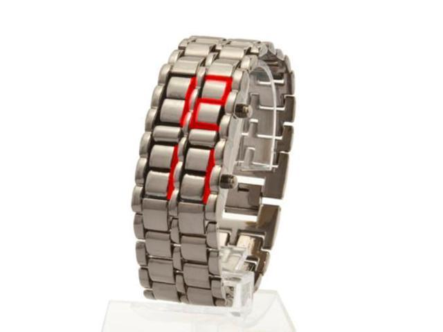 LED Digital Watch Lava Style Wrist Faceless Bracelet Iron Metallic Time Date Display for Adults Men Women Fashion Sports with Box