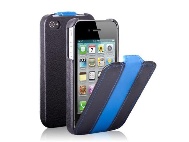 iPhone 4S/4 Case - Clssic Stripe Slim Fit Folio PU Leather Pouch Case Flip Cover Skin for Apple iPhone 4S 4 4G Black/Blue