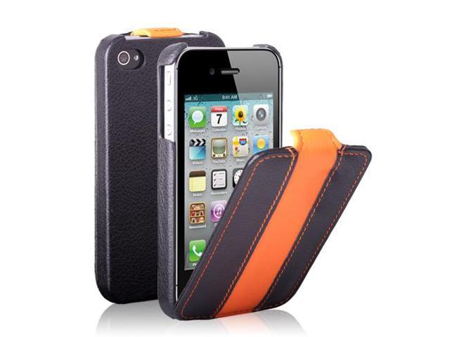 iPhone 4S/4 Case - Clssic Stripe Slim Fit Folio PU Leather Pouch Case Flip Cover Skin for Apple iPhone 4S 4 4G Black/Orange