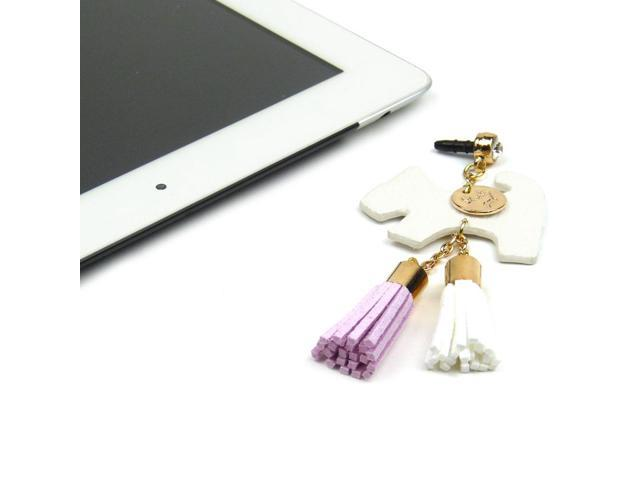JAVOedge White Fabric Hanging Dog Charm with Tassle for Headphone Jack for Tablets or Smartphones