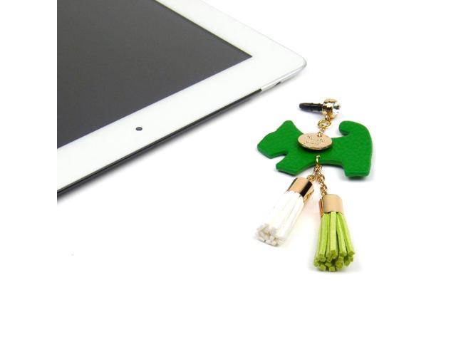 JAVOedge Green Fabric Hanging Dog Charm with Tassle for Headphone Jack for Tablets or Smartphones