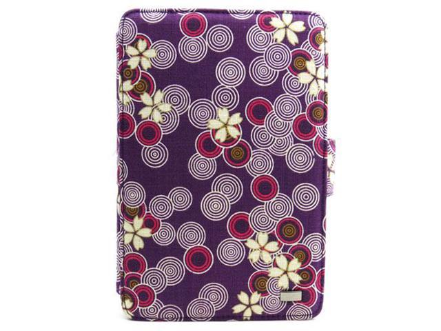 JAVOedge Purple Cherry Blossom Print Fabric Axis 360 Rotating Smart Cover Case with Stand for the Amazon Kindle Fire 7