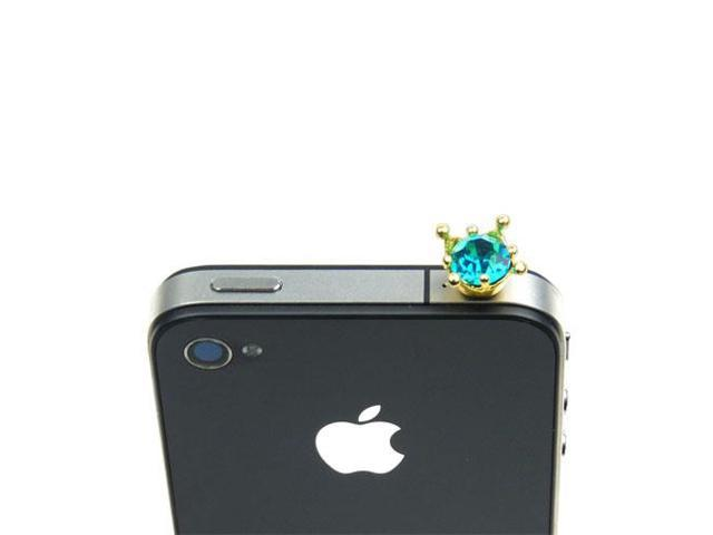 JAVOedge Turquoise Crown Rhinestone Gem Charm for Headphone Jack for Tablets or Smartphones