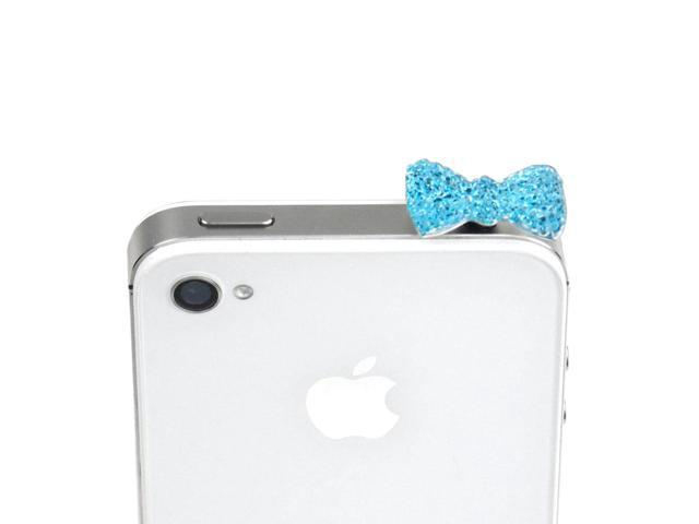 JAVOedge Turquoise Sparkle Gem Bow Charm for Headphone Jack for Tablets or Smartphones