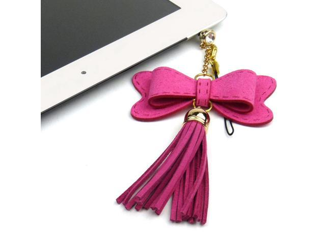 JAVOedge Pink Fabric Hanging Bow Charm with Tassle for Headphone Jack for Tablets or Smartphones