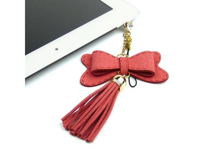JAVOedge Red Fabric Hanging Bow Charm with Tassle for Headphone Jack for Tablets or Smartphones