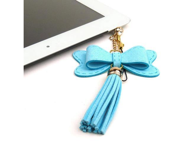 JAVOedge Blue Fabric Hanging Bow Charm with Tassle for Headphone Jack for Tablets or Smartphones