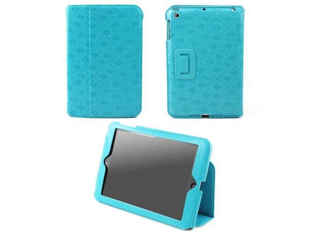 JAVOedge Debossed Floral Slim Stand Case for the Apple iPad Mini, iPad Mini 2 with Retina (Turquoise)