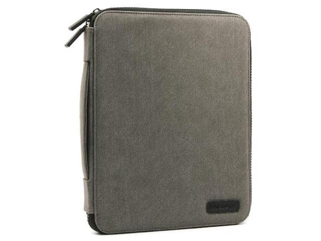 JAVOedge Gray Soft Fabric Commuter Case with Dual Zipper Closure and Inner Pockets for the Apple iPad 3, iPad 4