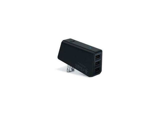 Jwin - TRIPLE USB AC ADPATER - BLACK TRIPLE USB