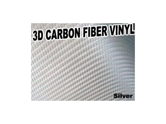 3D Texture Carbon Fiber Sticker Vinyl Flexible Decal Film Wrapping Sheet (Silver)