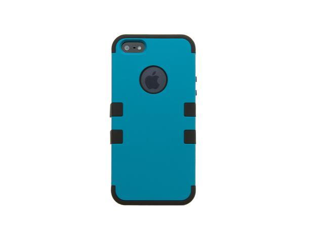 iPhone 5 Shockproof Hybrid Case --- Comparable to Incipio --- Hard Smooth Poly Outer Shell --- Teal / Black