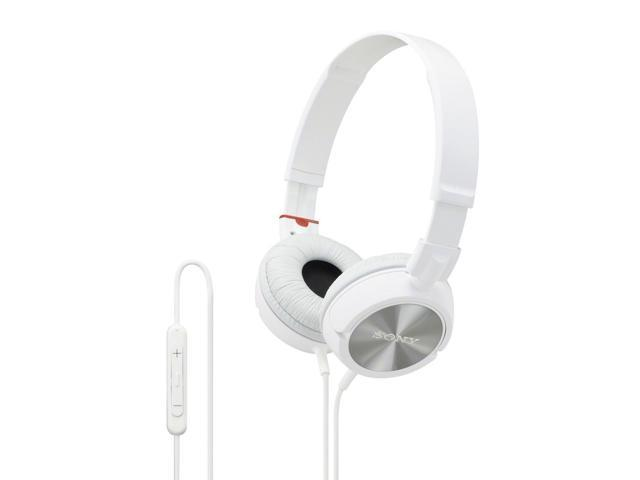 Sony MDR-ZX300IP/W ZX Series On-Ear Headphones with In-Line Apple Control and Mic (White)