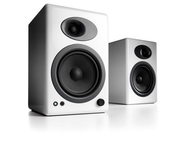 Audioengine A5+ Premium Powered Bookshelf Speakers - Pair (White)