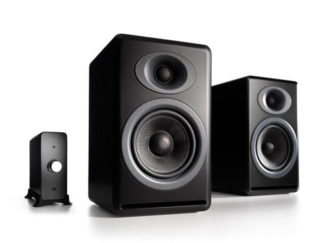 Audioengine P4 Passive Bookshelf Speakers and N22 Audio Amplifier Desktop Audio Speaker System (Black)