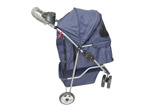 New Classic Fashion Navy Blue 3 Wheels Pet Dog Cat Stroller w/RainCover
