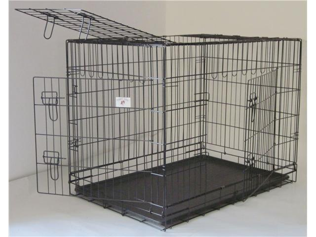 """24"""" Pet Folding Dog Cat Crate Cage Kennel w/ABS Tray"""