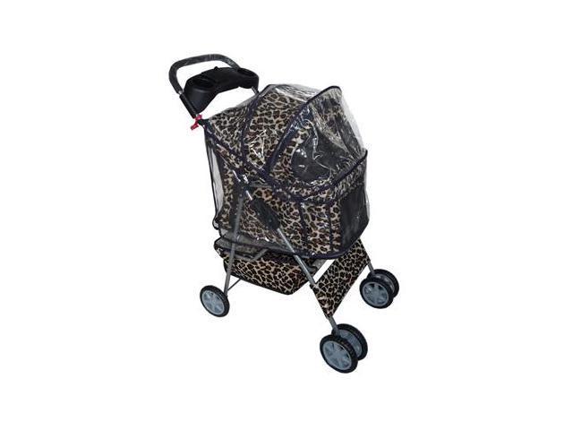 New Classic Fashion BestPet Leopard Skin 4 Wheels Pet Dog Cat Stroller w/RainCover