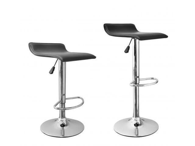 New Black Modern Adjustable Synthetic Leather Swivel Bar Stools Chairs B08 - Sets of 2