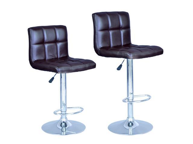 Modern Adjustable Synthetic Leather Swivel Bar Stools Chairs B06-Sets of 2 Brown